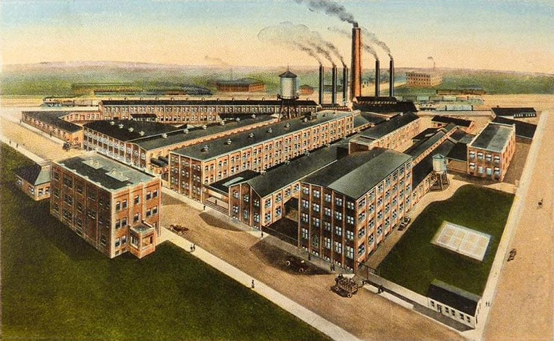 Illustration of the Kelly-Springfield tire plant in Akron Ohio, c. 1920. Kelly tires, the oldest tire brand in the U.S., was established in 1894.